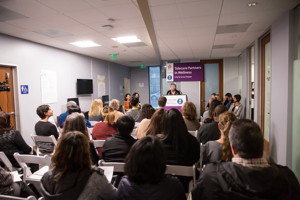 Toni Tullys , Director of Behavioral Health Services for Santa Clara County, speaks at the Telecare Partners in Wellness Open House on February 8, 2017.