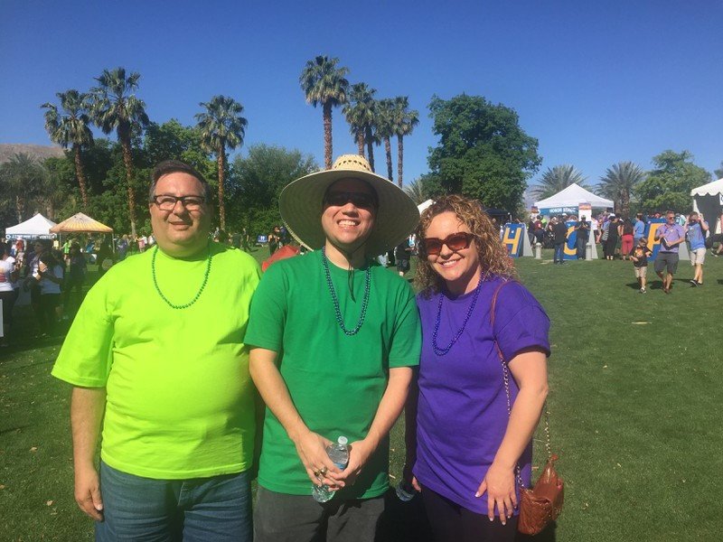 (L-R)  Bruce Sherr , Peer Support Specialist;  David Navarette , Peer Support Specialist; and  Marina Rivera , Registered Nursing Supervisor, at the Out of the Darkness Walk on April 1, 2017.
