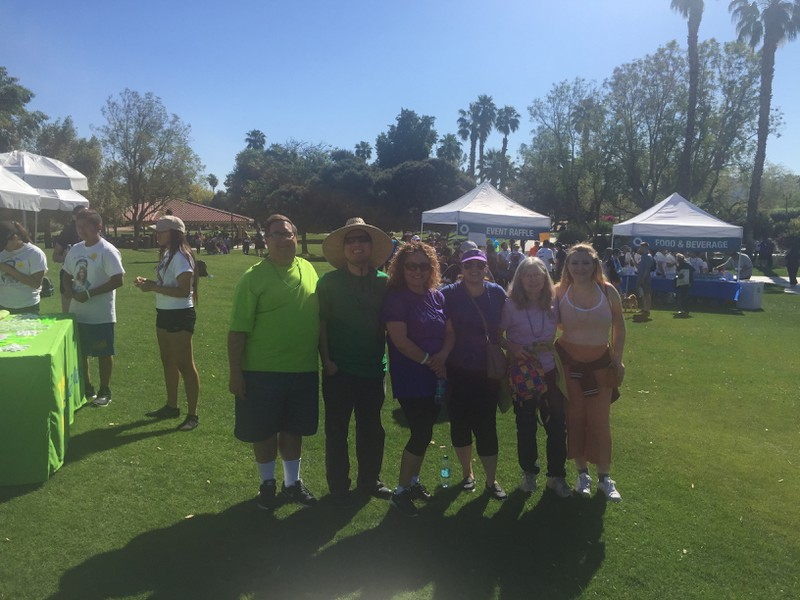 (L-R)  Bruce Sherr , Peer Support Specialist;  David Navarette , Peer Support Specialist;  Marina Rivera , Registered Nursing Supervisor;  Kylie De La Torre , Director of Rehabilitation; and Elizabeth Slusarczyk, Director of Social Services, and her daughter at the Out of the Darkness Walk on April 1, 2017.