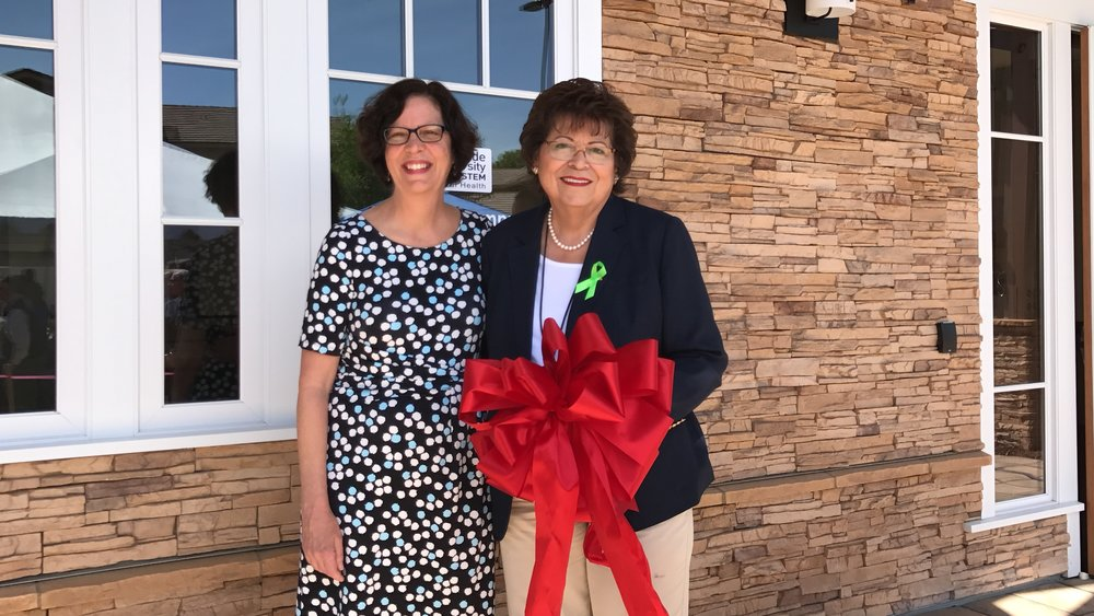 Faith Richie, SVP of Development, and Maria Marques, Deputy Director at Riverside University Health System-Behavioral Healthat the Lagos ribbon cutting ceremony and open house on May 3.