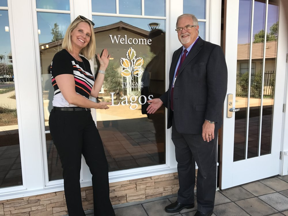 Jennifer Hinkel , Vice President of Development, and  Gary Hubbard , Vice President of Operations of Southern California and Arizona, at the Lagos ribbon cutting ceremony and open house on May 3.