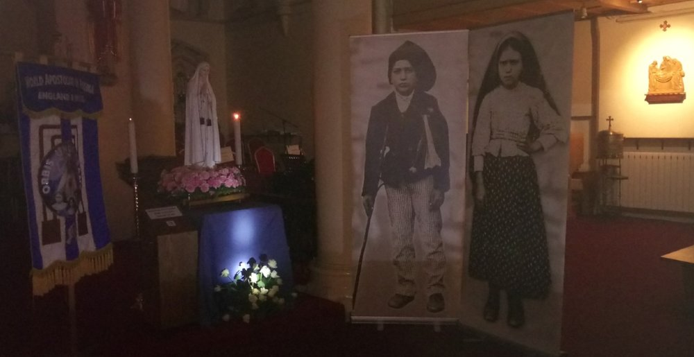 August 2017 -NATIONAL PILGRIM STATUE OF OUR LADY OF FATIMA WITH POSTERS OF THE NEW SAINTS: ST. FRANCISCO AND ST.MARTA