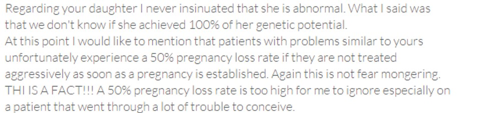 This is an example of a potentially illegal, and otherwise awful way of responding to a fertility patient review