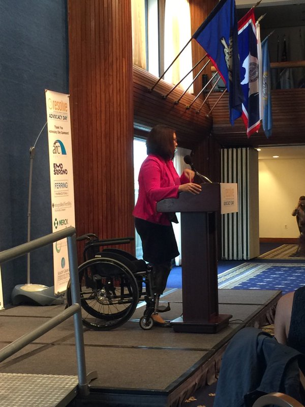 Rep. Duckworth addresses the advocates/ Photo courtesy of @BarbRESOLVE