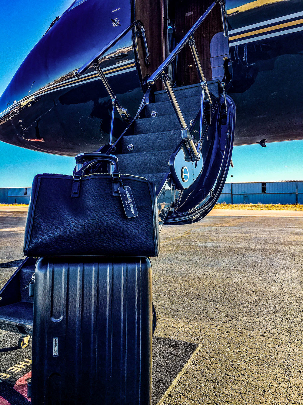 Suitcases before a SkyAngel flight