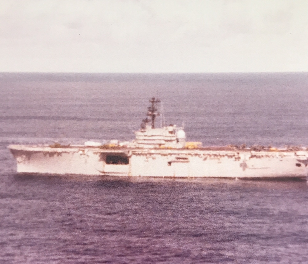 View from my helicopter at sea, this was taken during the Iran hostage crisis right before Reagan was elected, this is near the island of Diego Garcia. We were at sea 6 months.