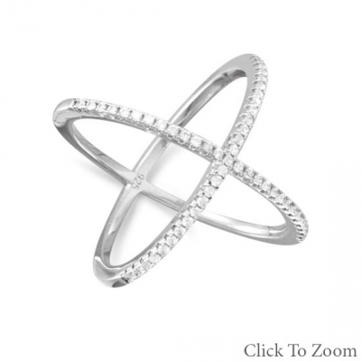 "Sterling Silver ""X"" Ring"
