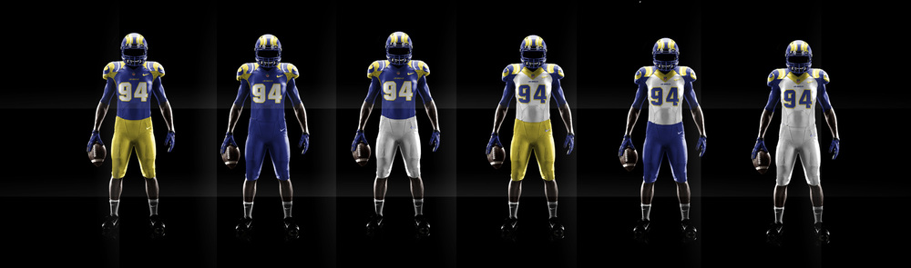 The new uniforms feature a refreshed color scheme honoring the Rams past and present. The base uniform is charged with a deep royal blue and paired with a bright yellow used on the shoulders and pants. Inspired by varsity lettering, new numbers with modern styling are placed on the front and back of the uniform with a yellow trim. The shoulders feature the iconic rams horn that accents the broad space of the shoulder pads. Matte blue helmets feature the rams unequaled horn helmet decal in a chrome yellow finish that shines as the players move on the field.