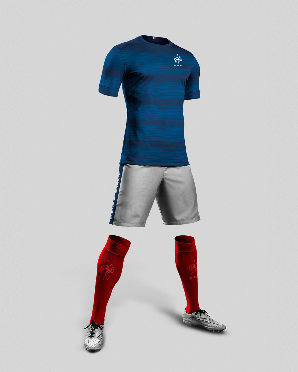 "A combination of blue tones, made from brush strokes, adorn the shirt  in order to encapsulate France's rich history as the art center of Europe, while also referencing the speed that the French team is known for playing. The shorts are white with accenting side stripes that feature the French National Team's nickname, ""Les Bleus"". Rounding out the uniforms, are a bold finish that cites Frances tri-color flag, red socks. Small touches of national pride are placed through out the jersey, from the French crest on the front of the uniform and socks, to a small tri-color flag placed inside the collar."