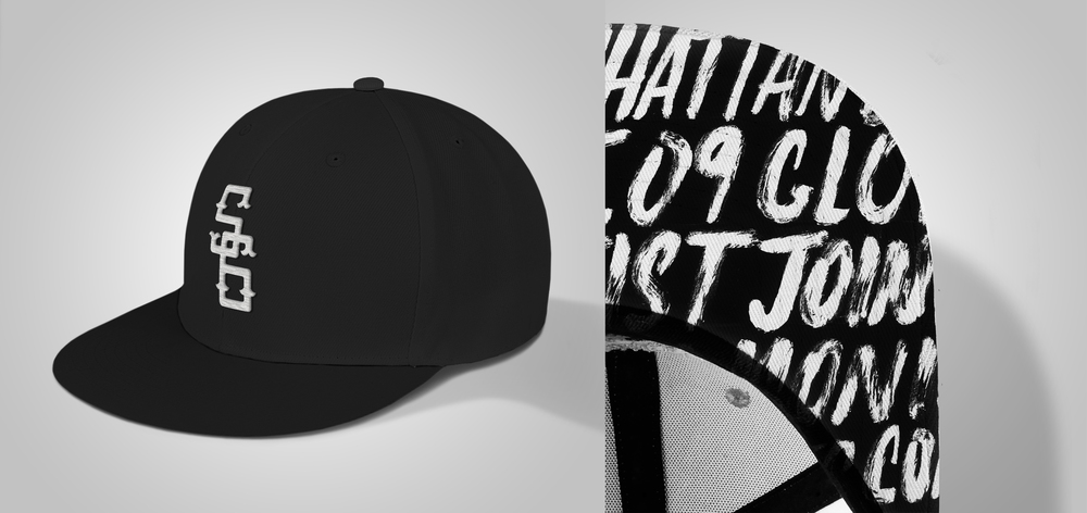 A more simple approach than the previous hat, this hat sticks to Society6's company colors of black and white. The underside of the brim features brush script with words that represent Society6 such as the founding location of Manhattan Beach, and a global community of thousands of artists
