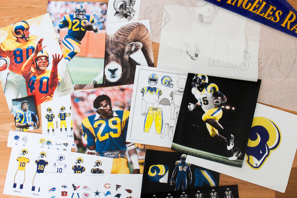 When I started the process of  rebranding the Rams, I went through images of when they were at their best in Los Angeles. Using those old images of the Rams and the rich history and enduring character they have in LA, I reintroduced deep royal blue and yellow that define LA and its iconic bright lights. For the logo, I printed out pictures of Rams so that I could better understand the shapes that would lend themselves to make a successful mark. Sketching out a number of different marks, I decided the current logo had a good shape but just need a few adjustments to be more successful.
