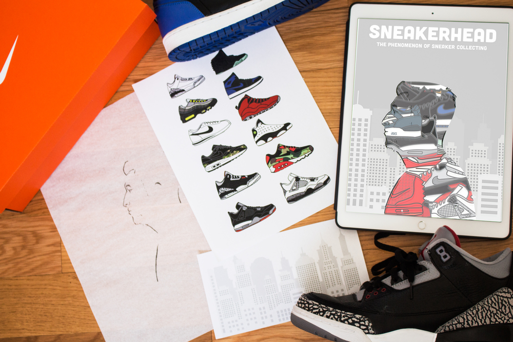 Using my knowledge as a sneaker collector, I set out to design an article that would properly portray sneakerheads. I decided to quite literally create a sneakerhead for the cover of the article by drawing my own profile and then overlaying all of my favorite sneakers to create the front illustration.  This being a digital publication, flat designs were used to show off smooth lines and bright colors of the shoes. In the background a subtle grayscale cityscape was used to reference where sneaker collecting is most popular in big cities, like Chicago and New York.