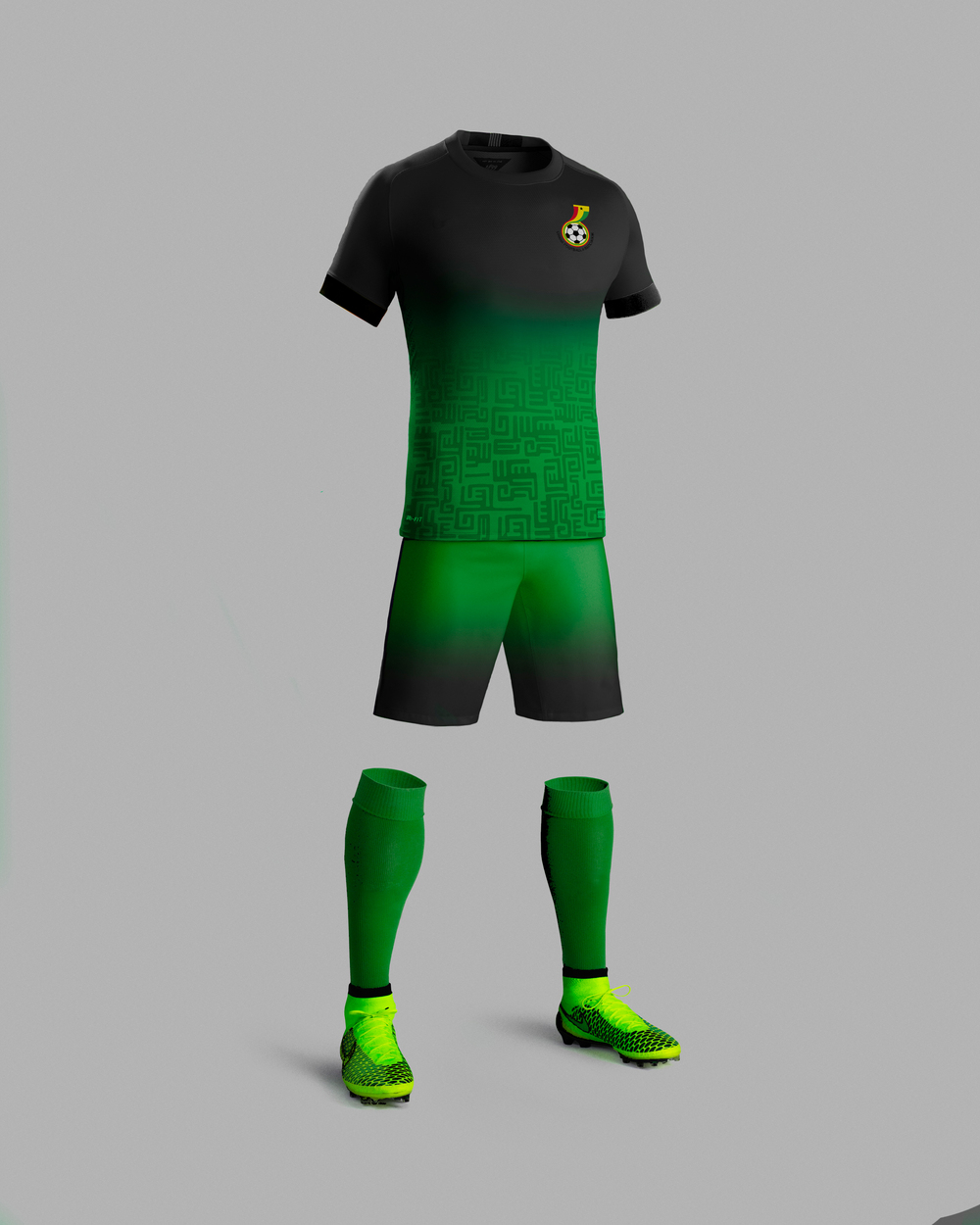 For Ghana, a green and black fade theme speaks to the rain forests that cover most of the country, while also accenting the athletes body. An ashanti pattern adorns the shirt, paying homage to the largest tribe in Ghana and their rich history. Ghana's National Football logo gives a bit of national pride to the chest of the uniform.