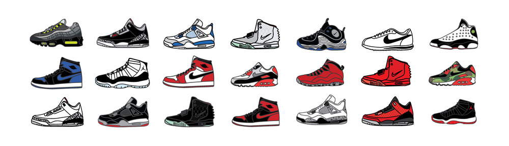 I illustrated each sneaker bold and flat so they would each appear crisp and clean on the digital magazine screen.