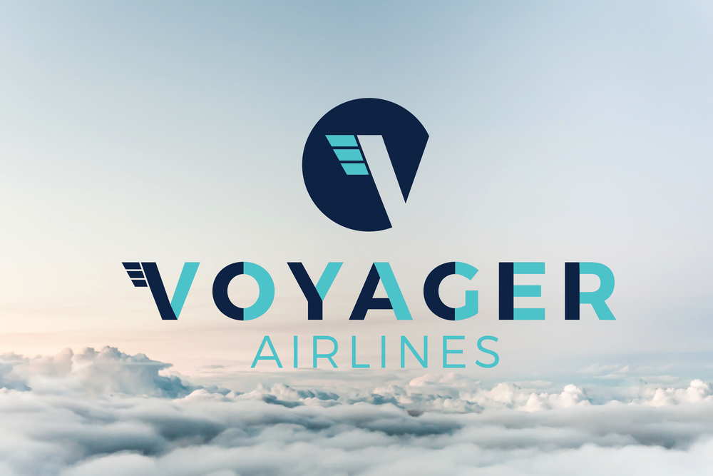 "The final mark uses a signature ""V"" that plays on the tail of an airplane while creating a ""V"" that moves through a circle. Navy and Teal make up the colors of the logo as reference to the sky as it changes from light to dark as you ascend in an airplane. A custom San Serif font is used with a split color block to continue the sky color treatment. In the end the clients dream of getting this small airline off the ground never came to be and the business plan was scrapped, but it still remains one my favorite designs."