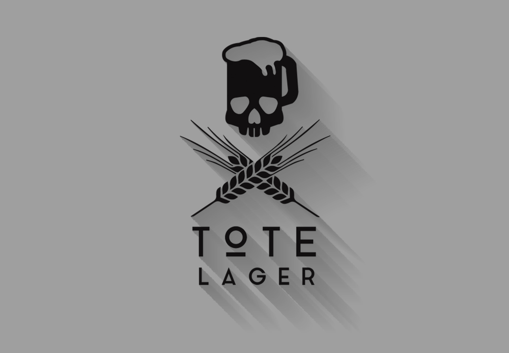 "The final mark uses a mug shaped skull while crossed barley plays at the idea of a skull and cross bones. ""Tote Lager"" is spelled out in a clean San Serif with a lot of kerning to air it out and let it breathe."