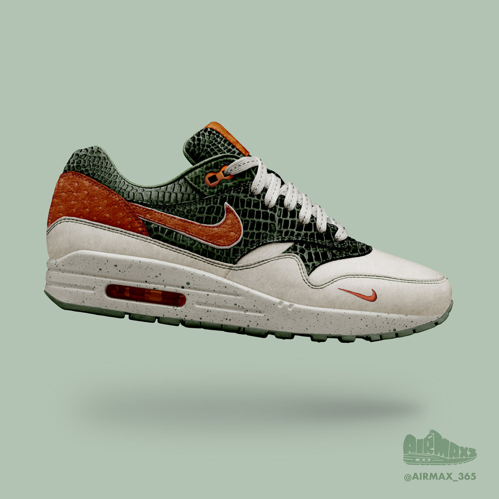 Day 308: Air Max 1 Cayenne Crocodile