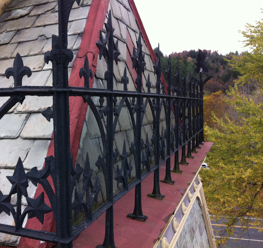 Cast-iron balustrades on the bell tower.
