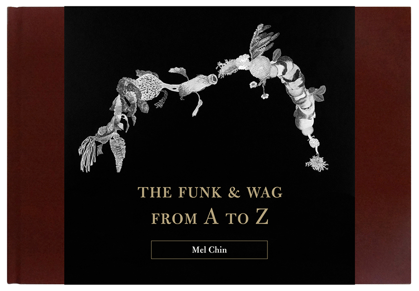 """THE BEE VOLUME"" (Volume III) in THE FUNK & WAG FROM A TO Z. From 2011 to 2012, artist Mel Chin extracted all of the images from a 25-volume set of Funk & Wagnall's Universal Standard Encyclopedia (ca. 1953–56) and began visually re-editing. Over 500 black-and-white collages are accompanied by 25 poems, one per encyclopedia volume, commissioned by Chin and author Nick Flynn specifically for this publication."
