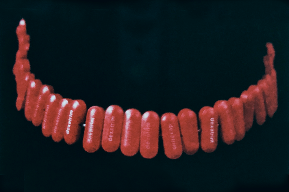 DEXATRIM CANDY NECKLACE  Produced in conjunction with the GALA Committee for I n the Name of the Place , a collaborative art intervention that inserted conceptual works into the sets of the  Melrose Place  television show.