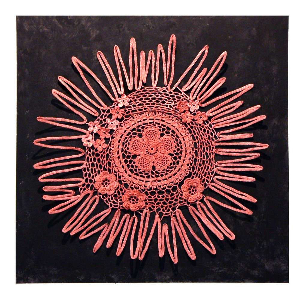 THOUGHT-FORM DOILY NO. 11: RADIATING AFFECTION melds traditional floral motifs and floriographic meanings with abstract form and colors from the thought-form palette (presented in the 1901 book  Thought-Forms ) into a crochet hybrid that breaks from the conventional circle into a free-form thought-form. The specific color of the thread, hand dyed using plants and flowers, represents affection in floriography and Theosophy.