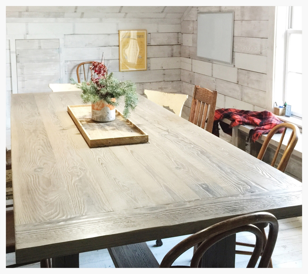 The Duncans landed on the Farmhouse Style Table with a grey wash wax finish to compliment their modern eclectic style.