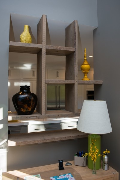 Heritage floating shelves creating a clean design space.
