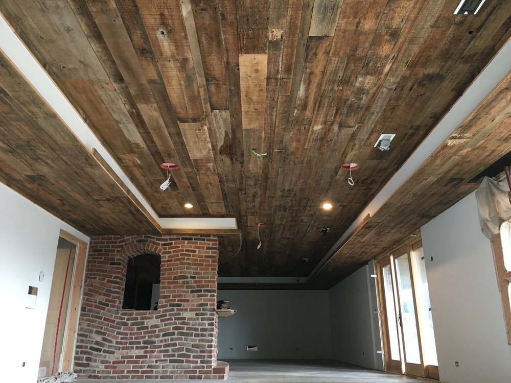 The beauty of reclaimed old growth wood adorning a ceiling.