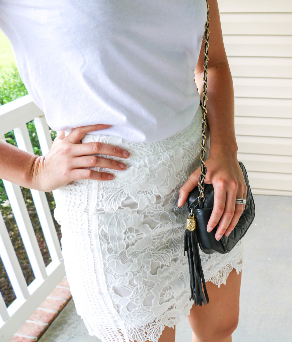 3. - Lace Skirt x White T