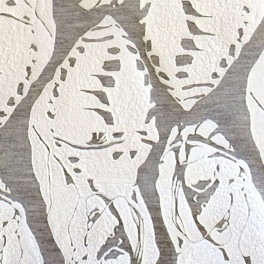 Illustrated cocoon - puff print on scuba fabric