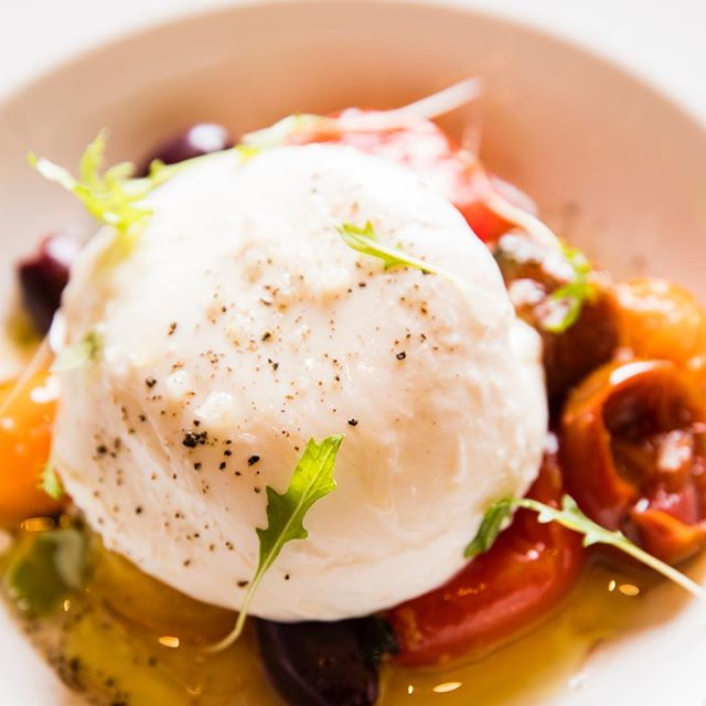 heirloom tomato + burrata, capers, olive oil + grey salt #getgrey #greysalt #meatlessmonday