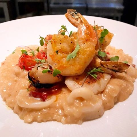 Seafood risotto with calabrese peppers, calamari, scallops and gulf shrimp #greysalt #getgrey #specials