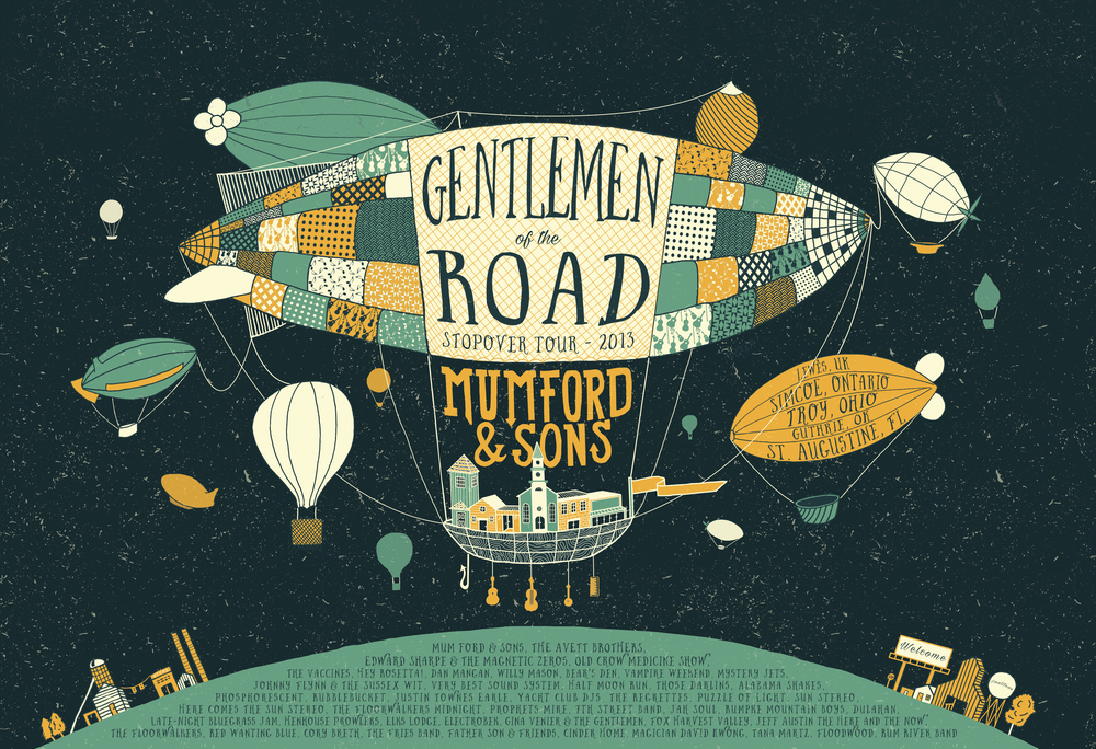 Illustrated Poster for 2013 Gentlemen of the Road Tour