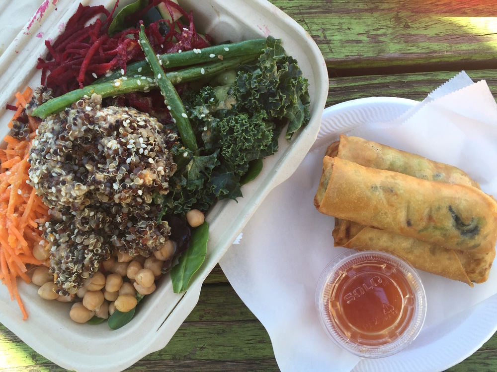 """Boulder Creek Cafe- """"Buddha Bowl"""" to the left & Thai Spring Rolls to the right! Yum!"""