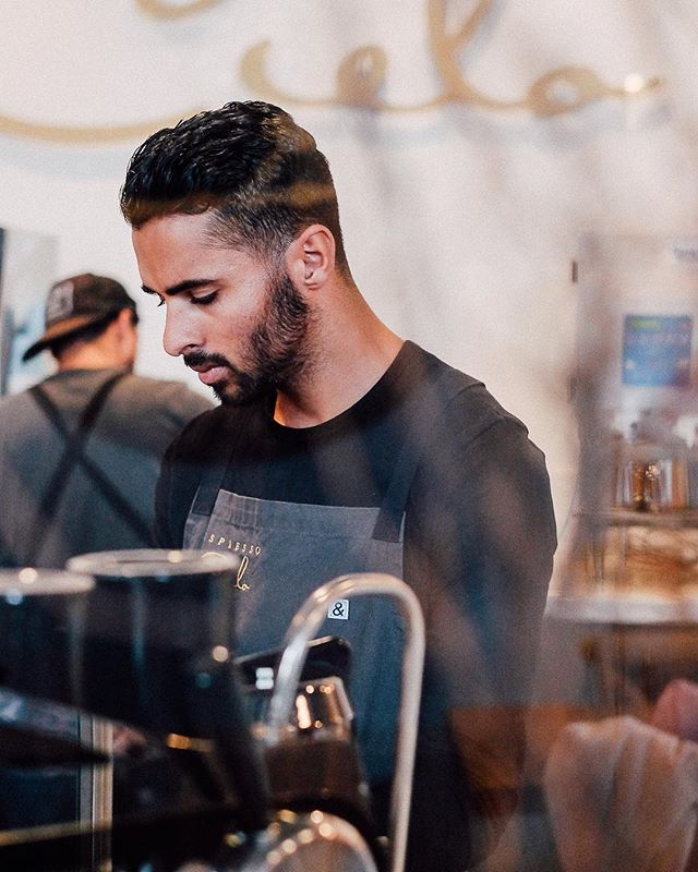 I am missing the café life and the aroma of freshly brewed @49th coffee.  Here's a candid shot of Ean, one of @espressocielo 's amazing baristas.