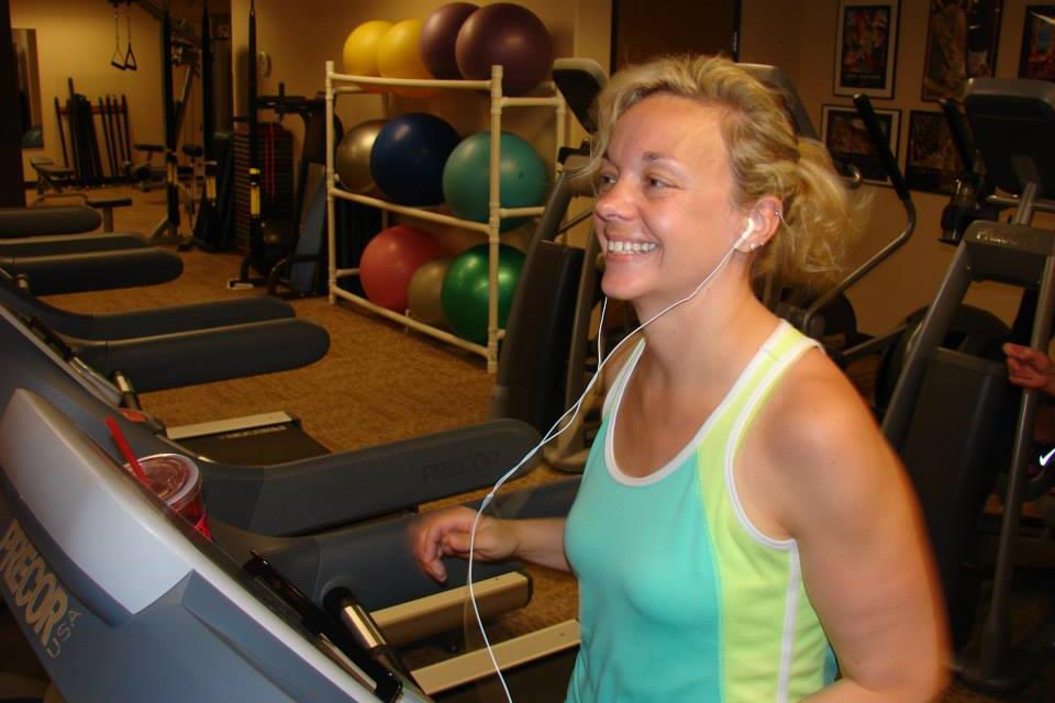 Enjoying cardio with Judy at Health Pros.