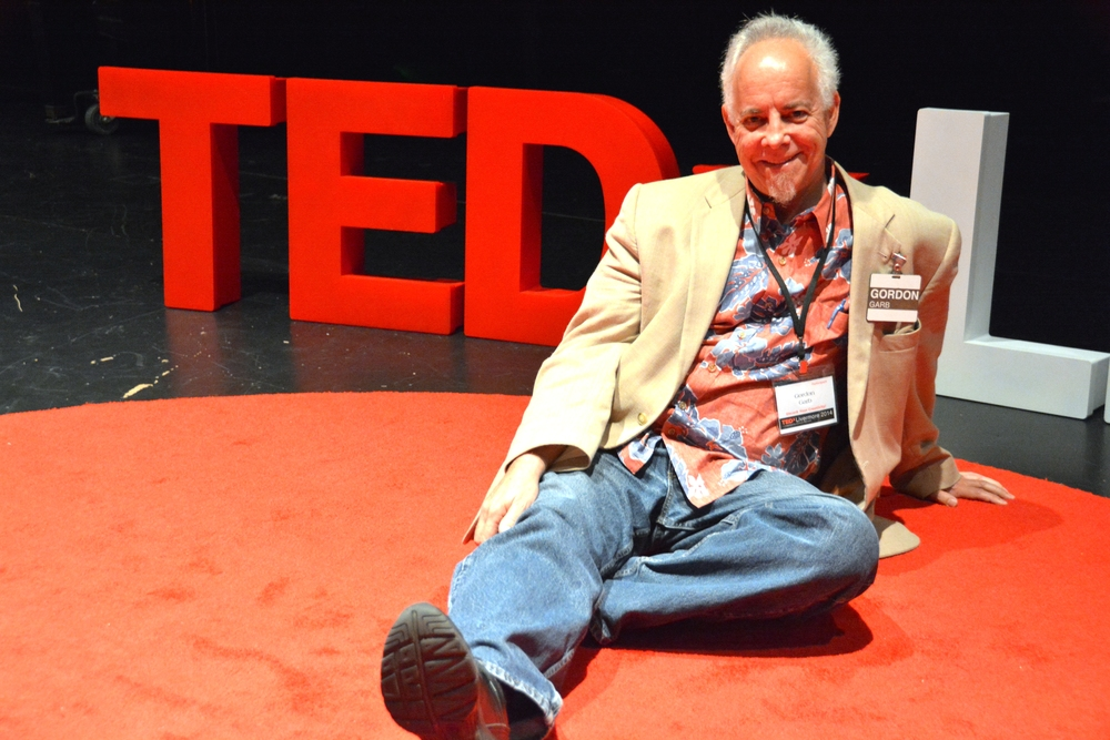 "A VERY SPECIAL shout out to Gordon Garb for lending us the ""TEDx"" rug!"