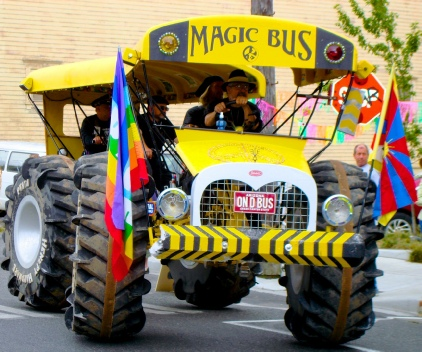 The Magic Bus during the Kinetic Sculpture Race.