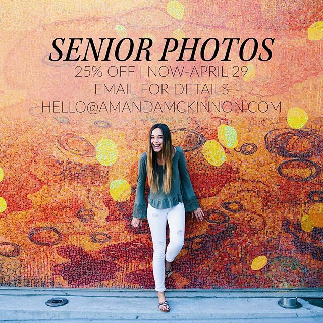 CALLING ALL SENIORS | it's almost graduation! I am offering 25% off for a limited time, email me for booking and offer details 💌 hello@amandamckinnon.com #amandamckinnonphotography #classof2016 #seniorphotos