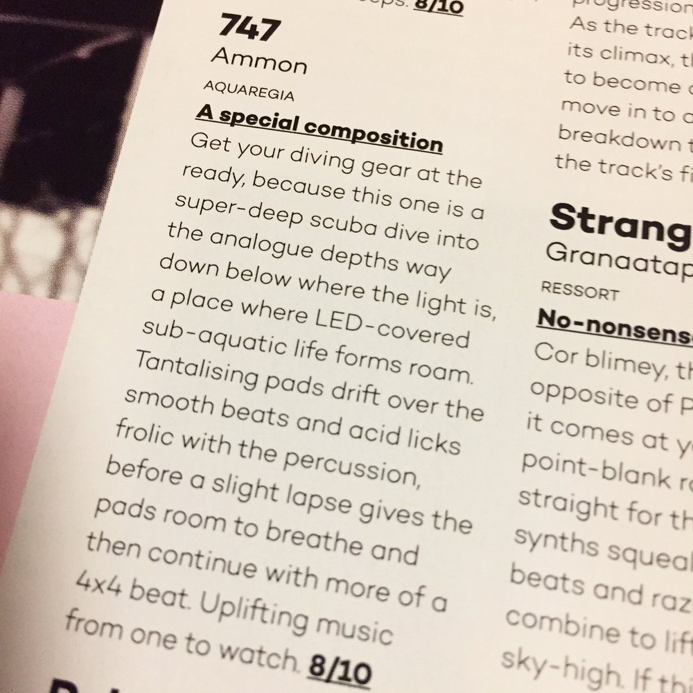 Ammon by 747 is reviewed by Mixmag and included in their December 2016 magazine.