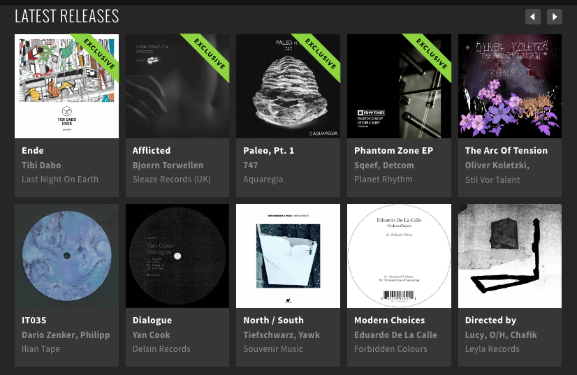 Paleo Part 1 from 747 getting featured on Beatport's new techno releases page.