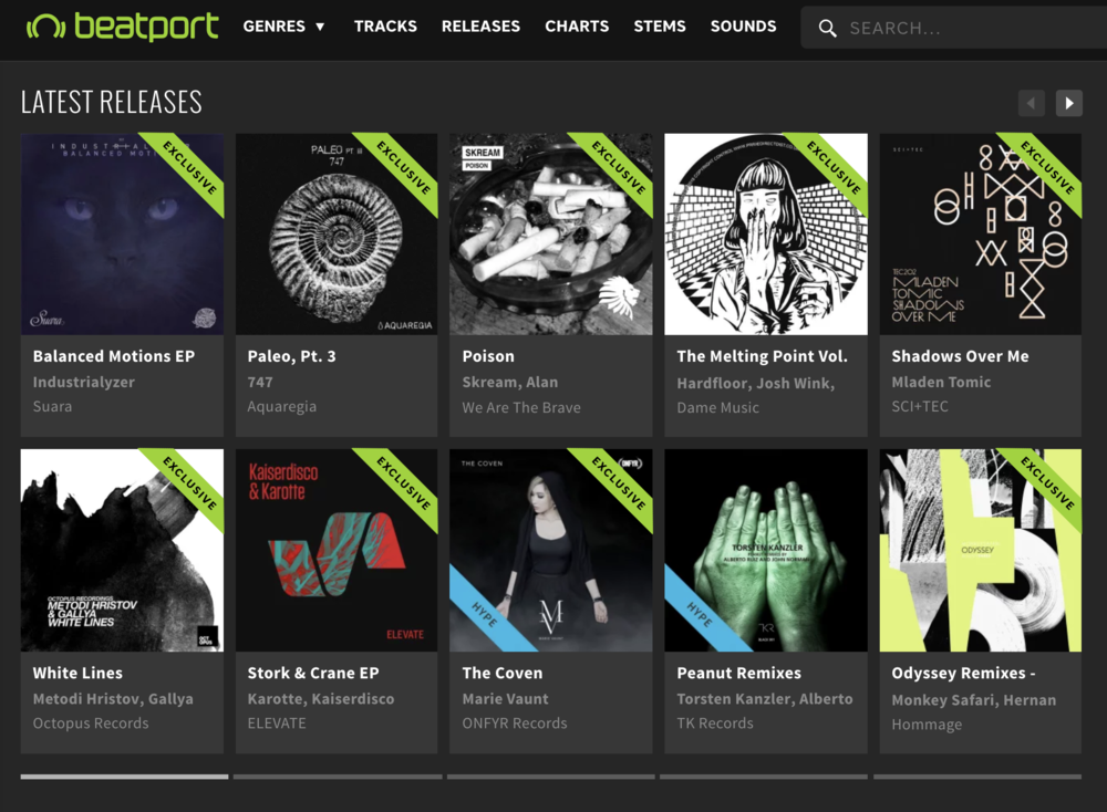 747's Paleo Pt. III EP gets a feature on the first page of Beatport's techno new releases.