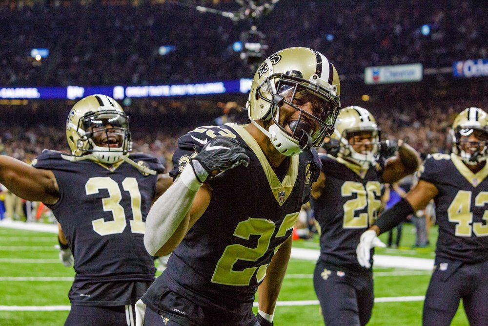 New Orleans Saints cornerback Marshon Lattimore (23), New Orleans Saints defensive back Chris Banjo (31), New Orleans Saints cornerback P.J. Williams (26), and New Orleans Saints free safety Marcus Williams (43) celebrate an interception by New Orleans Saints middle linebacker Alex Anzalone (47) during the first half of an NFL football game against the Los Angeles Rams in New Orleans, La. Sunday, Nov. 4, 2018.