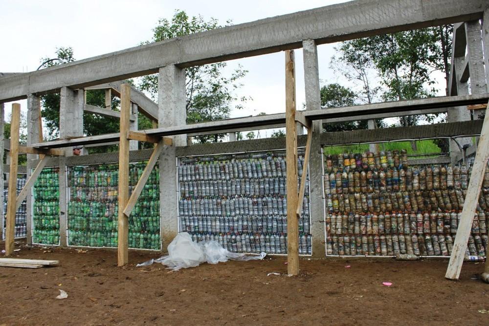 Bottle School wall in progress