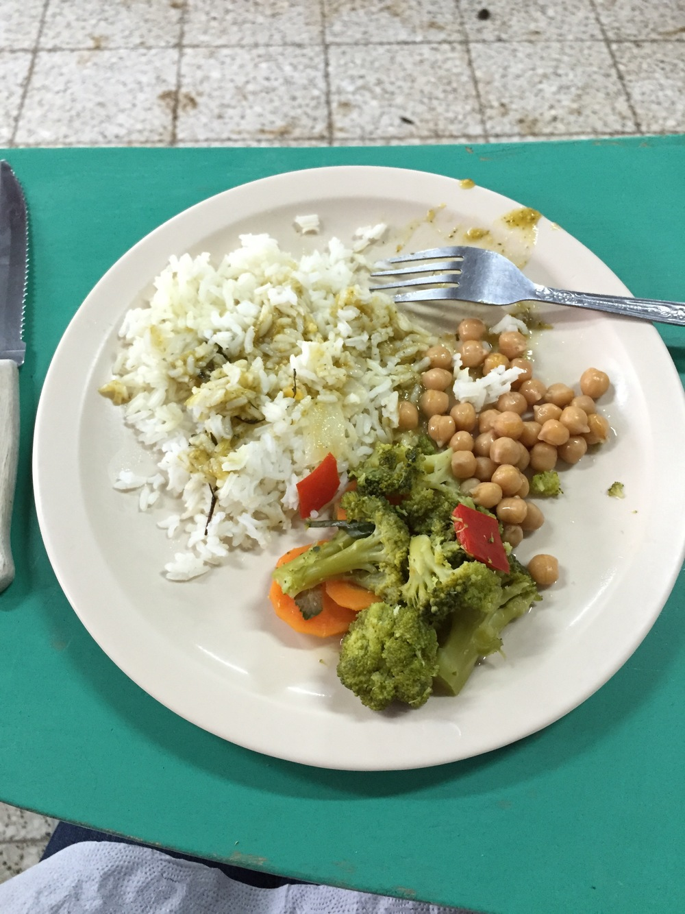 Lunch Cristy brought to the bottle school work site - Chickpeas, rice and veggies with salsa verde