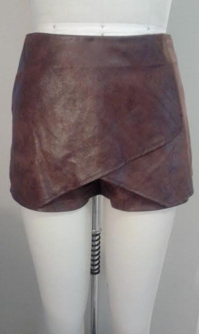 Vegan Leather Wrap Skort