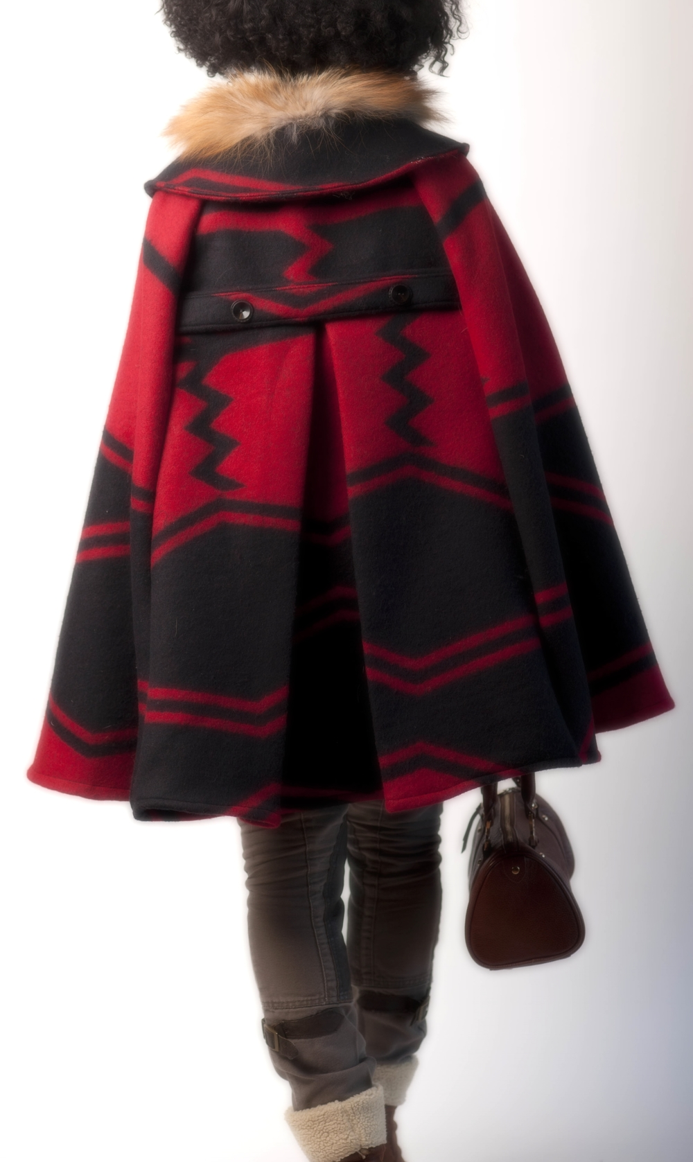 Blanket Cape with Fur Collar (back)