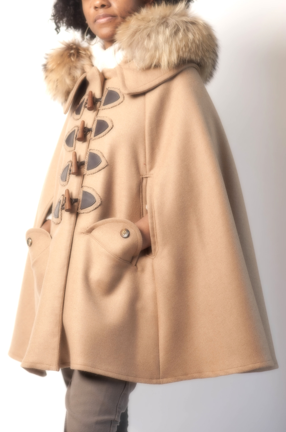 Fur Hooded Wool Cape