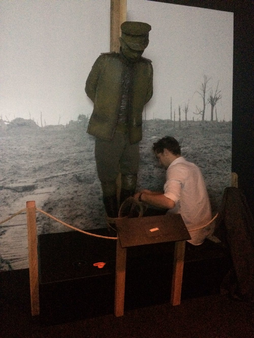 Henry installing his doppelgänger at the Great War Exhibition