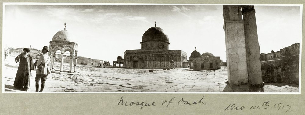 Photographs by Captain Arthur Rhodes from the   Palestine Exploration Fund, London.   Above: Major General Chaytor visiting the Dome of the Rock in Jerusalem, PEF/P/RHODES/111. Page header:   Guns drawn up for inspection,  PEF/P/RHODES/29.